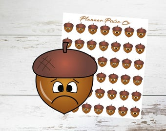 Fall Planner Stickers // Autumn // Acorn // Sad // Unhappy