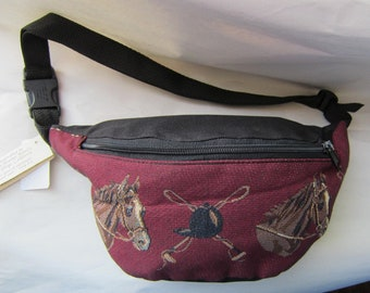 Tapestry Fabric HORSEHEAD Equestrian Horse Large Fanny Pack Waist Pack made in USA....choose color