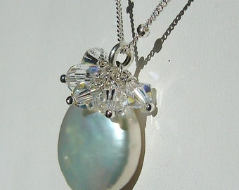 White Coin Pearl Necklace, Crystal Drops, Sterling Silver, Swarovski, Freshwater Pearl, Bridal, Weddings Hamptonjewels