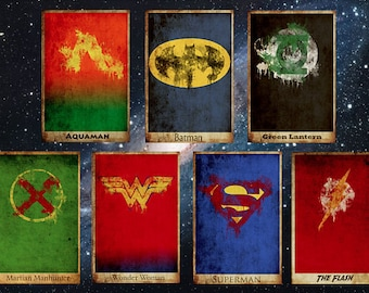 All 7 justice league movie posters minimalist poster comic book print comic book art