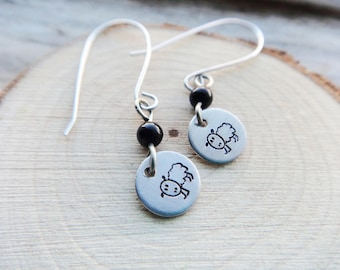 Black Sheep Earrings- Cute Animal Stamped Metal Earring- Family Rebellious Earrings-Stand Out Different Jewelry