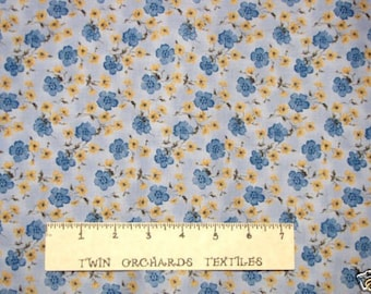 Kings Road Cotton Fabric Floral Optix Blue Yellow YARD