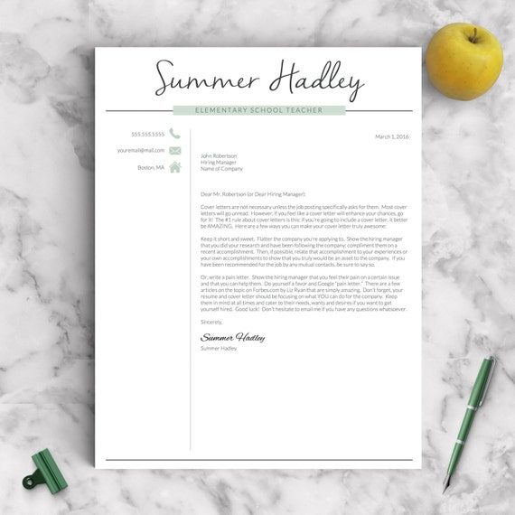 Teacher Resume Template For Word And Pages  Page Educator