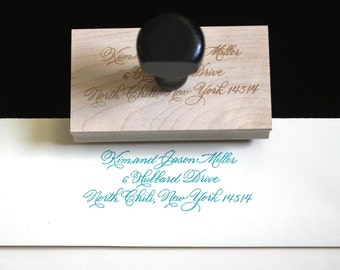 Calligraphy Address Stamp, Great Gift! Custom, Personalized Burgues Script