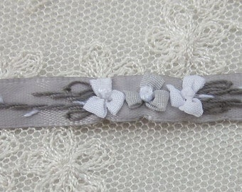 Hand Embroidered Silver Gray Satin Ribbon Flower Trim Baby Doll Christening Gown