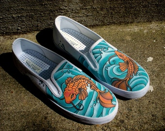 Hand Painted Toms - Koi