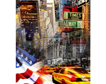 New York, Colorful Wall Art, Digital Art, Printable Poster, Digital Download, Printable Photography, Printable Art,  Photographic Collage
