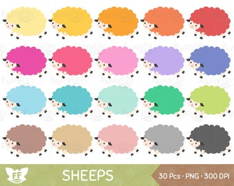 Sheep Clipart, Sheeps Clip Art, Lamb Wool Cartoon Farm Animal Cattle Rainbow Cute Digital Graphic PNG Download, Commercial Use