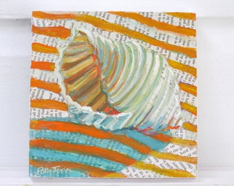 Shell Game original mixed media acrylic still life painting by Polly Jones