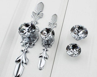 Drawer Knobs Pulls Handles Rhinestone Silver Chrome Clear Dresser Knobs Glass Kitchen Cabinet Knobs  Furniture Bling Back Plate A06