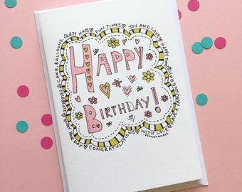 Happy birthday card - birthday card for her - girl birthday card -  birthday card for friend - pink birthday card