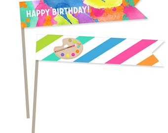 Neon Art Birthday Party Straws Flags - Craft & Art Party decor Instant Download Printable