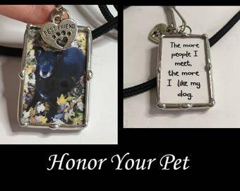 Personalisierte Foto-Schlüsselanhänger, gelötet Glas Anhänger Halskette, Pet-Memorial, Bild Anhänger, Anhänger, Zubehör, Handwerker gemacht, Hund angepasst