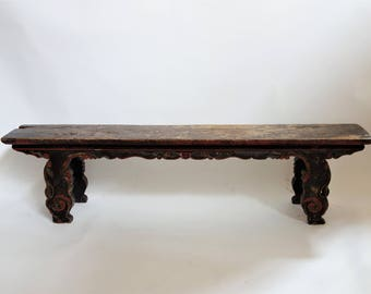 Antique Chinese bench, solid elm wood (FREE SHIPPING)