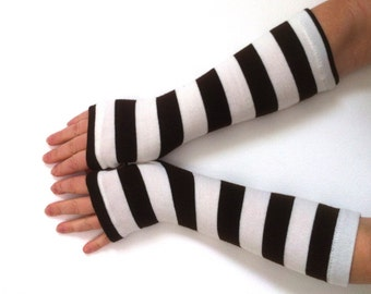 WINTER SALE Fingerless  gloves striped  gloves  nice knit jersey