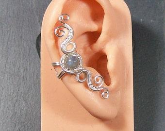 "Labradorite & Silver Woven Gemstone Ear Cuff - ""Hands of Time"" Model"