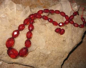 Cherry Amber Bakelite Beads DESTASH Translucent Faceted Lovely Antique Cherry Amber Graduated Choker Necklace Beads