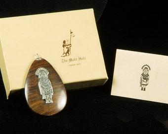 Kachina pendant in 925 and Ironwood