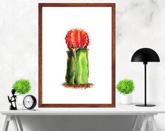 Watercolor  Cactus Art Print Nursery Artwork Decor , Home Decor Print Poster