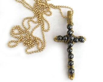 Artisan Cross Hematite Bead Pendant Necklace for Women or Men
