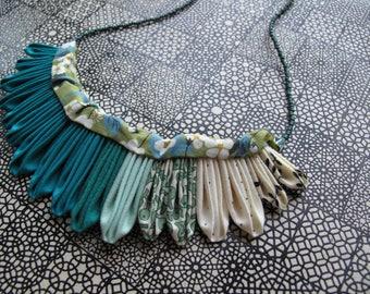 The Artemis Kanzashi Folded Fabric Necklace Nine in Seafoam, Teal, Green, Cream, Liberty of London