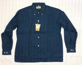 deadstock dark blue black streaked stripes button down collar cotton shirt size large Ivy League NWT NOS