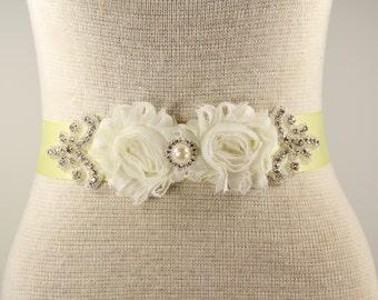 Soft Yellow & Ivory Bridal Sash - Wedding Dress Sash Belt - Pale Yellow Rhinestone Crystal Wedding Sash - Yellow Rhinestone Bridal Sash