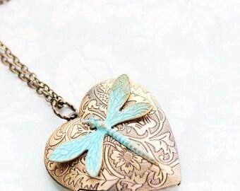 Large Heart Locket Necklace Verdigris Patina Dragonfly Pendant Gold Floral Photo Locket Vintage Style Valentines Day Keepsake Gift For Mom