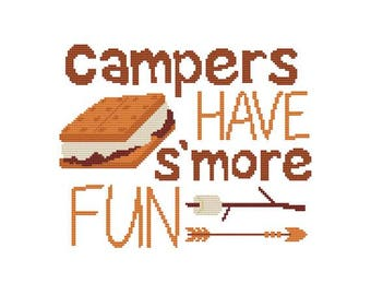 Campers Have S'more Fun Counted Cross Stitch PDF Pattern