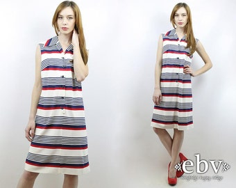 Striped Dress 1970s Dress 70s Dress White Dress Americana Dress Vintage 70s Striped Americana Sundress L Summer Dress 4th of July Dress