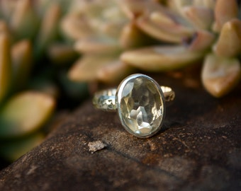 Green Amethyst Prasiolite Ring with Beaten Sterling Silver Band