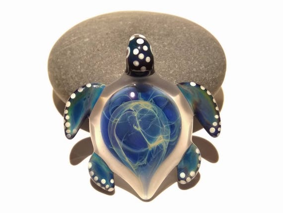 Glass Jewellery - Sky Blue Sea Turtle Pendant - Handmade - Glass Art - Blown Glass Necklace - New Gift Idea - Borosilicate
