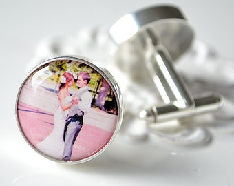 Custom Photo Cufflinks -  personalized keepsake gift for him on your wedding day or anniversary