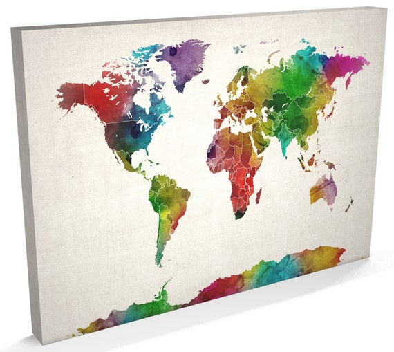 World map canvas watercolour map of the world box canvas art like this item gumiabroncs Gallery