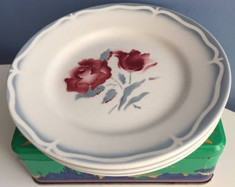 Four French Ceramic Dessert Plates by Digoin Sarreguemines. Alesia Rose Flower Motif. Cheese Side Salad Plates. Shabby Chic Country Kitchen