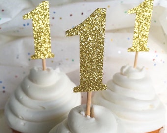 Gold Glitter Number Cupcake Toppers • Food Picks