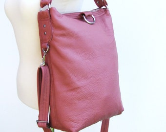 Pink lady Leather bag, foldover leather bag, messenger and cross body bag, shoulder tote purse - Dusty pink
