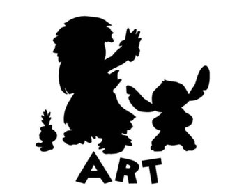 Lilo and Stitch with Scrump personalized inspired vinyl sticker decal car window sticker