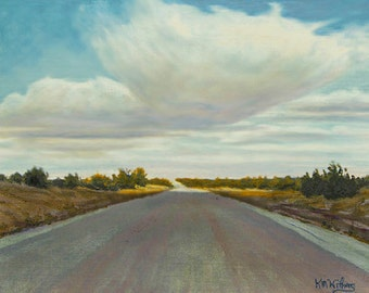 "Road ""Chasing the Sun"" - Original Landscape Painting - oil - highway painting - sky - contemporary -  turquoise - clouds - free shipping"
