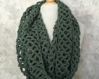 Light Sage Open Lace Infinity Scarf