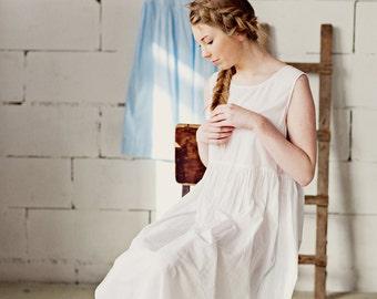 Modest Dress, White Dress, White Petticoat Dress, Linen Clothing, Sleeveless Dress, White Linen Dress, Boho Dress / White Petticoat NS