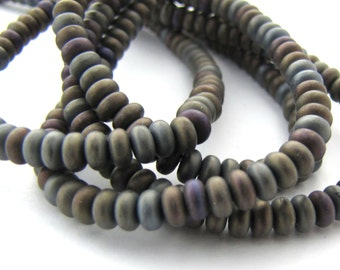 Matte Iris Brown Czech Glass 4mm Rondelle Beads 100pc #2996