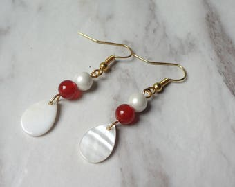 White Teardrop Shell Beads Gold Plated Hook Earrings Dangel Earrings Drop Earrings 1008