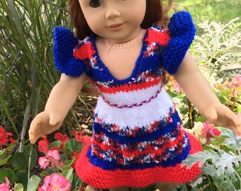 Red, White, and Blue AG doll Dress and Headband