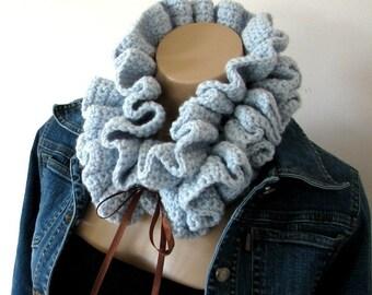 Crochet Scarf Pattern Crochet Neckwarmer pattern Hyperbolic crochet womens scarf with Ribbon Ties Blue Coral