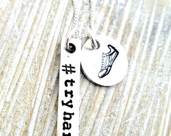 running necklace-runners necklace-runners jewelry-personalized runners jewelry-5k gift-gift for runner-sports necklace-#tryhards-runner gift