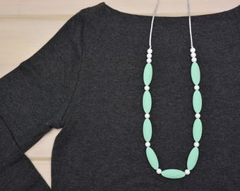 Silicone Teething Necklace | Nursing Necklace | Teething Accessory | Marquise | Mint