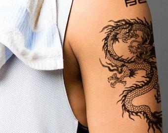 Supperb® Temporary Tattoos - Black & White Dragon