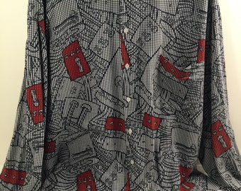 Men's Vintage Italian Bolgheri / Massimo Giacon 80's Memphis Milano Dress Shirt