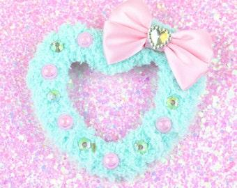 Sweet Lolita Hair Accessory-Fairy Kei Accessory-Alligator Clip-Women's Hair Accessory-kawaii accessory-Lolita head accessory-Mint